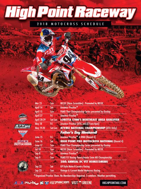 Click HERE to view the complete 2018 High Point MX Schedule online.
