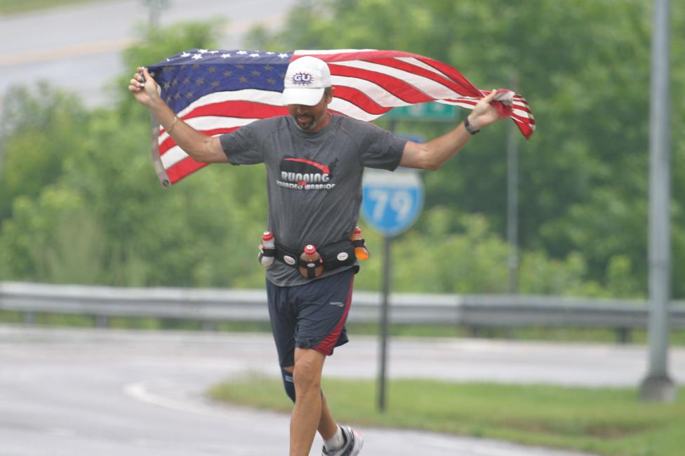 "Summerlin during his ""Freedom Run"" spanning 3,452 miles across America helping raise $50,000 for veteran-focused charities."