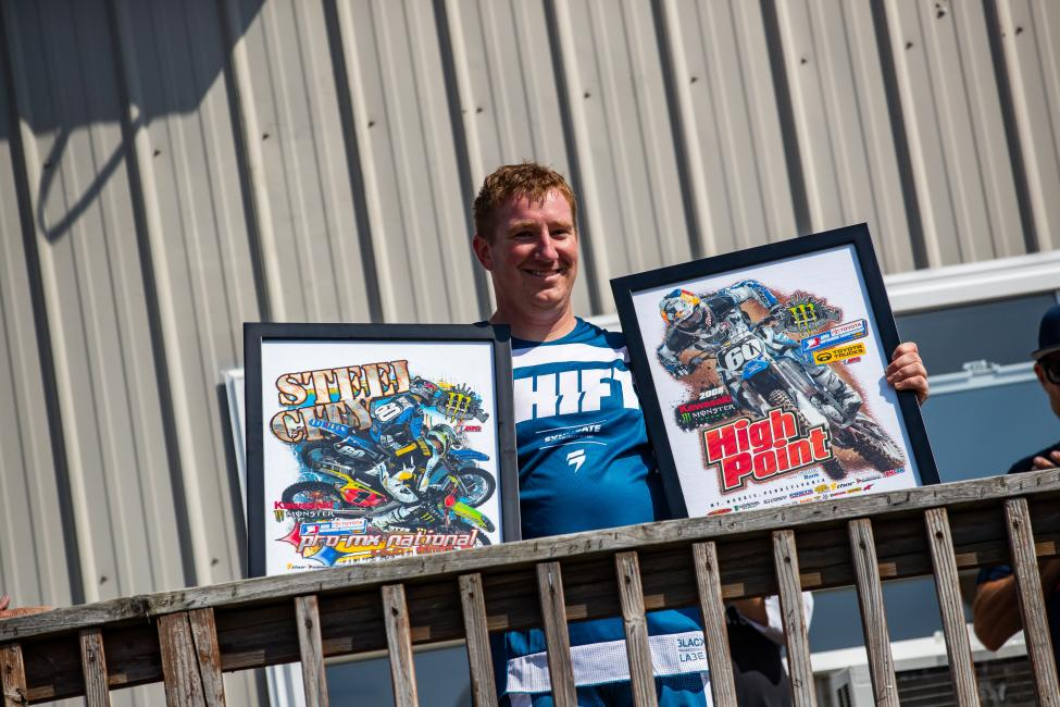 The 2019 Grand Marshal, Broc Hepler, was presented with framed t-shirt artwork from when he raced in the Pro Motocross series.